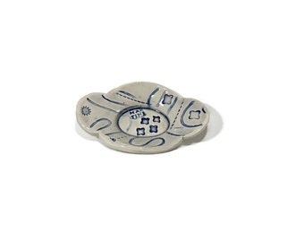Blue and clear glaze stoneware bowl, ceramic, pottery, handmade, original, hand thrown, shiny, food safe, dishwasher safe