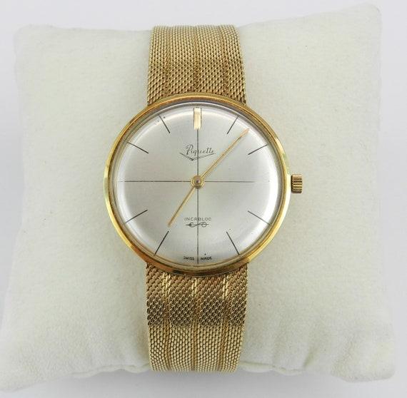 Antique Vintage 14K Yellow Gold Mens PIQUETTE Bracelet Watch in Original Box