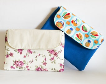 E book sleeve, Ipad Sleeve, Tablet sleeve, Floral Pouch, Kindle sleeve, Fruit Purse, Flowers Print Bag, White blue Pouch,Cotton Tablet Pouch