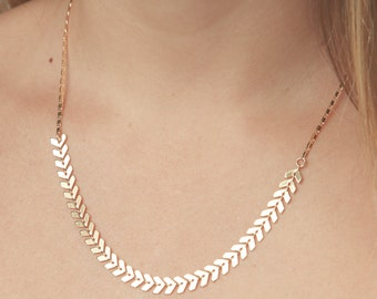 Gold Necklace Dainty Geometric Necklace Fishbone Necklace everyday necklace delicate 24k gold plated jewelry.