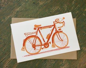 CYCLING Art BICYCLE card 10 Speed, Letterpress print, bike card, road bike, bike print, gift for cyclists, Old school bike, Ten speed