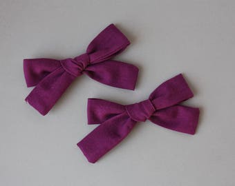 Dark Purple Pigtail Set- fabric baby bow, fabric headband, baby bow, baby bow headband, pigtail set, bows for twins, matching bows