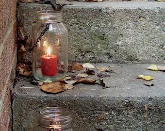 Mason Jar Lights or lanterns (set of 4), clear hanging jars for wedding decor