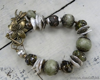 Lampwork Bead and Brass Bracelet Handcrafted SRAJD