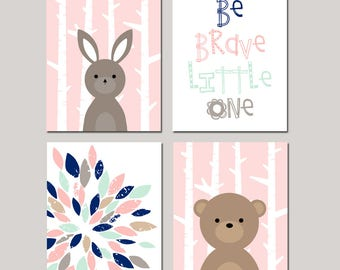 Girl Woodland Nursery Art Forest Animal Nursery Art TRIBAL Nursery Art Set of 4 Bunny Nursery Decor Woodland Nursery Prints Be Brave Quote