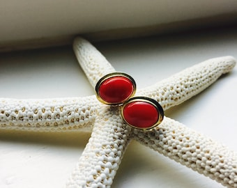 RICH RED CORAL - Vintage Mediterranean Coral and 14 Karat Gold Earrings