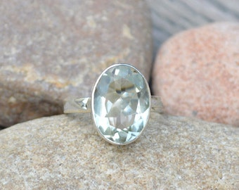 Prasiolite Gemstone Ring -925 Sterling Silver Ring -Birthstone Ring -Solitaire Ring -Artisan Handmade Gift Ring -Green Amethyst Ring