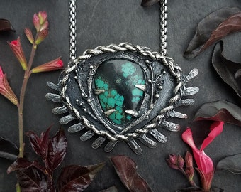 Turquoise Southwestern Garden Necklace  - Sterling Silver - handmade by Jamie Spinello