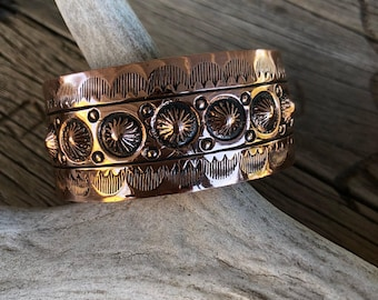 Copper, Southwest, Stamped, Repousse, Cuff, Bracelet, Southwest, Jewelry, Arizona, Navajo Revival Inspired