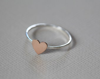 Just a tiny heart ring, dainty ring, everyday ring  - rose gold filled tiny heart on sterling silver band