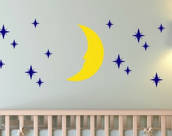 Gorgeous Night-time Moon and Stars Vinyl Wall Decal Set