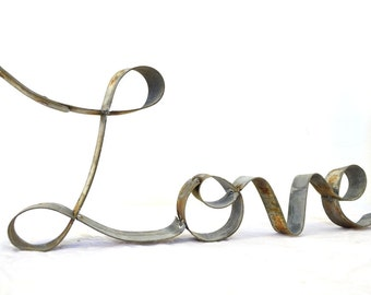 """RING ART - """"Love Cursive"""" - made from hand bent reclaimed Wine Barrel Rings - 100% Recycled!"""
