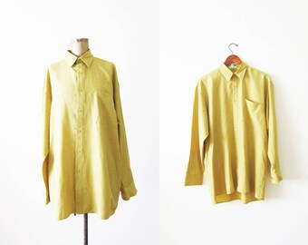 Oversized Shirt - 80s Shirt - Neon Green Yellow Shirt - Oversized Button Up - Baggy Shirt - Collared Long Sleeve - Slouchy Shirt -
