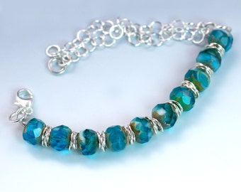 Aqua Blue Czech Glass Silver Bracelet / Teal Blue Glass Summer Bracelet / Silver Chain with Lobster Clasp / Handmade Bracelet