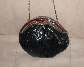 Vintage Black with Jeweltones Beaded Evening Purse