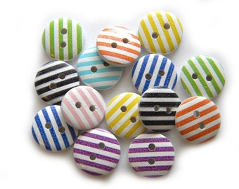 20 Striped Wooden Buttons