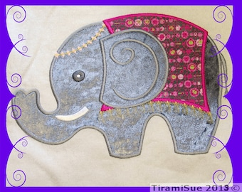 Elephant Applique for the 8x12inch/200 x 300mm Machine Embroidery Hoop