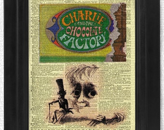 Charlie and the Chocolate Factory, Roald Dahl, original book cover on art dictionary page illustration book print, Gift