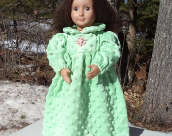 "18"" light green doll nightie with matching bloomers, green floor length nightie, long sleeved nightie, back Velcro closure, green bloomers"