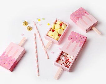 3 pink Ice cream shape gift boxes,gift boxes,cute gift box,kids party,favor box,ice cream,candy box,party favor box,chocolate box,treat box
