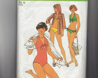 Vintage 70's Bathing suit, Bikini and Cover-up sewing pattern.   Simplicity.  Misses Size 12.   No. 8028.
