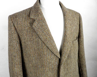 Vintage Brown Green and Gold Herringbone Harris Tweed Jacket  by MacNaughtons of Pitloch Size L  / XL  To Fit 44 - 46 inch Chest  Classic