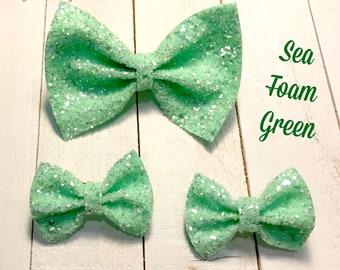 Sea Foam Green Glitter Bow, Sea Foam Green Glitter Piggies, Glitter, Sparkling, Glitter