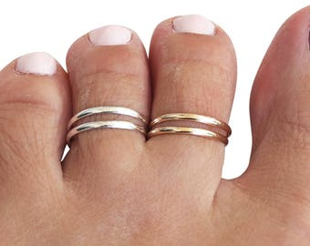 Sterling Silver Toe Ring, Gold Toe Ring, Midi Ring, Knuckle Ring, Adjustable Ring, Two Bands Ring, Double Band Ring, Double Lines Ring