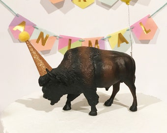 Buffalo Birthday Cake Topper with Party Hat and Balloon
