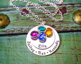 Stamped Mommy Necklace • Sterling Silver Grandma Necklace Jewelry Layered Necklace • Children Name Two Disc Large Family Necklace