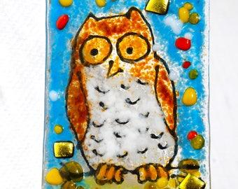 Owl Night Light, Childs light, Hand Made, Fused Glass, nursery decor, woodland light, wall light, glass night light,