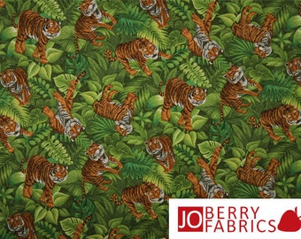 Tiger Fabric, It's a Jungle Out There by Choice Fabrics, Quilt or Craft Fabric, Fabric by the Yard