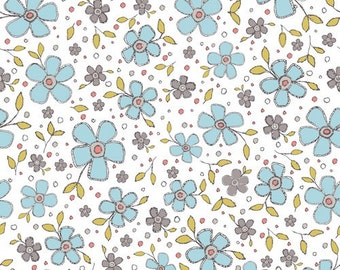 Dashwood Studio Prairie Collection,Blue Floral Print Cotton Fabric, Quilting Fabric, Patchwork Fabric, 100% Cotton