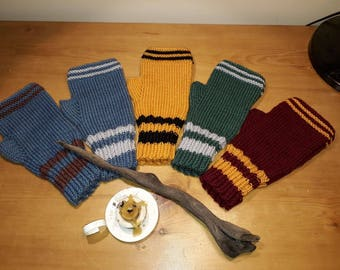 Harry Potter inspired Fingerless Gloves Gryffindor House Mitts Wool Hand Knitted Wrist Warmers Size Adult Medium to Large Wool Yarn Mittens