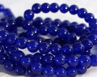 Blue Jade Beads - Round beads - PICK SIZE 6mm, 8mm - 15 inch strand- Round Beads, Blue Gemstone Beads, Royal Blue Beads -Semi Precious Beads