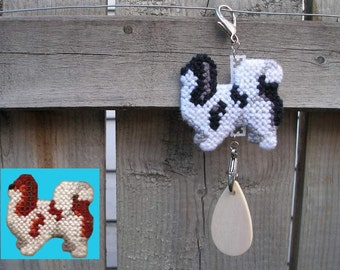 Japanese Chin art decor hang anywhere crate tag, hand stitched by dog artist, choice of color, Magnet option