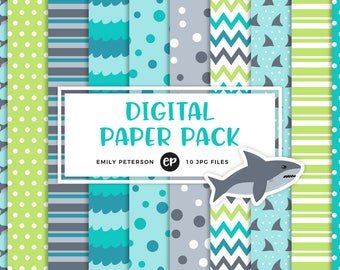 50% OFF SALE! Shark Attack Digital Paper, Beach Background Paper - Commercial Use, Instant Download