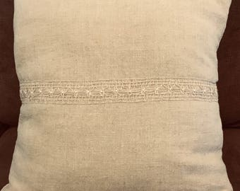 Antique Linen, Hand Embroidered Decorative Ribbon, Throw Pillow