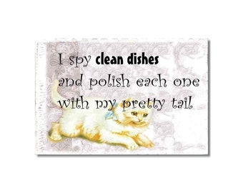 Victorian Cats Dishwasher Clean Dirty Mini Flip Magnet Sign shabby kitchen decor cat lover gift wife hostess gift
