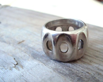 SALE Vintage Sterling Modern Style Ring Size 5.5 Stephanie DePalo Artisan Made Arts and Crafts Gifts For Her Handcrafted Retro Style Mod