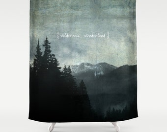 Fabric Shower Curtain - Wilderness Wonderland, Nature Photography, RDelean, Foggy Mountain Landscape, wilderness, woodlands, PNW