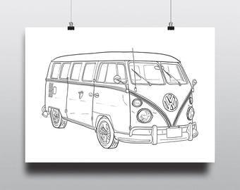 Volkswagen Art, VW Art, Volkswagen Wall Art, VW Wall Art : Volkswagen Bus Angle
