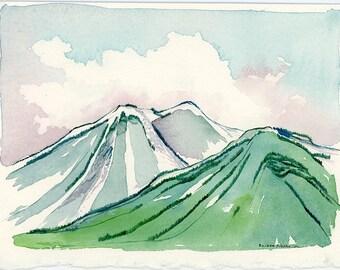 Watercolor Landscape, Lake Tahoe California, Plein Aire, Watercolor Painting, Landscape Painting, Fine Art, Abstract, Wall Decor, Home Decor