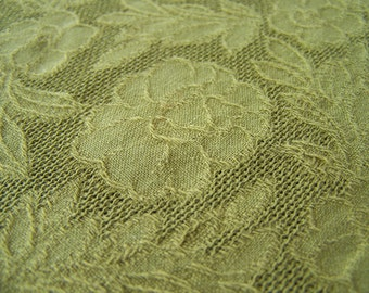 SALE Vintage Olive Green Oval Table Cloth with Pom Poms 42 X 59 Inch