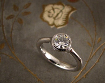 Elegant Solitaire Engagement Ring (14K white gold) - Made to Order