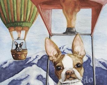 Giclee Print Boston Terrier en ballon à Air chaud par RSalcedo EBSQ A4C Frenchie