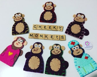 5 cheeky monkeys finger puppets. animal monkey puppets. Educational toys, quiet time, storytime, pretend play, birthday gifts, travel toy