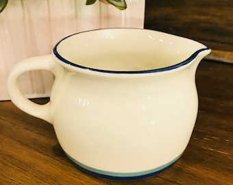 Pfaltzgraff Gravy Boat In Northwinds - Stoneware, Blue And Green Bands - 16 Ounce - Syrup Pitcher
