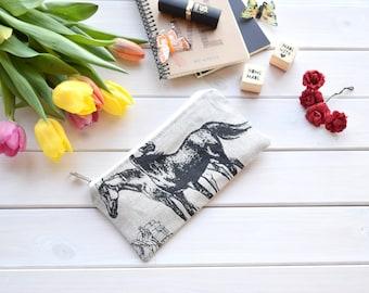 Pencil Case, Make Up Bag, Horse, Equine, Small Bag, Gift, Pouch, Bag, cute pencil case, storage, linen, Horse Pencil case, Equine Gift, line