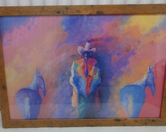 Large Colorful Impressionist/Cowboy/ Two Horses/Signed Print